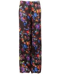 Pantalones anchos con print de flores negros