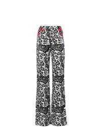 Pantalones anchos con print de flores negros de De La Vali