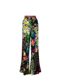 Pantalones anchos con print de flores negros de Etro