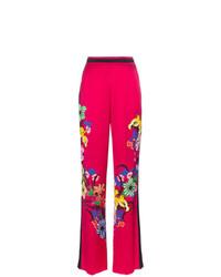 Pantalones anchos con print de flores rosa de Etro