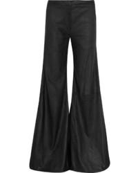Pantalones anchos de cuero negros