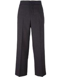 Pantalones anchos de lana a cuadros en marrón oscuro de Incotex