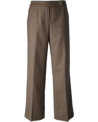 Pantalones anchos de lana marrónes