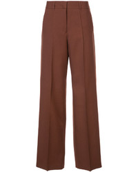 Pantalones anchos de lana marrónes de Jil Sander