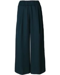 Pantalones anchos de lana verde oscuro de Forte Forte