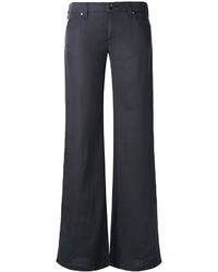 Pantalones anchos de lino azul marino de Armani Jeans
