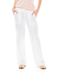 Pantalones anchos de lino blancos