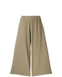 Pantalones anchos de lino marrón claro de Labo Art