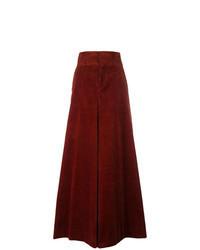Pantalones anchos de pana burdeos