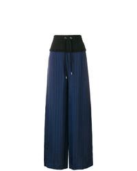 Pantalones anchos de rayas verticales azul marino de T by Alexander Wang