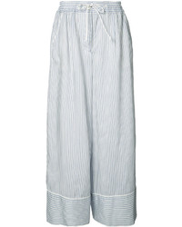 Pantalones anchos de rayas verticales celestes de Sacai