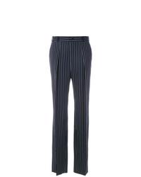 Pantalones anchos de rayas verticales en azul marino y blanco de Lanvin