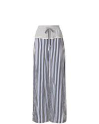 Pantalones anchos de rayas verticales en azul marino y blanco de T by Alexander Wang