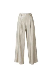Pantalones anchos de rayas verticales en beige de Forte Forte
