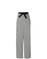Pantalones anchos de rayas verticales en negro y blanco