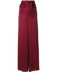 Pantalones anchos de seda burdeos de Valentino