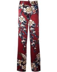 Pantalones anchos de seda estampados burdeos de Dsquared2