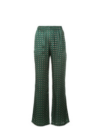 Pantalones anchos de seda estampados verde oscuro de Faith Connexion