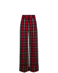 Pantalones anchos de tartán burdeos de MSGM