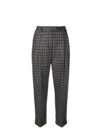 Pantalones anchos de tartán en gris oscuro de Brag-Wette