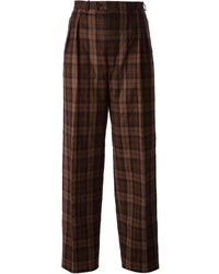 Pantalones anchos de tartán en marrón oscuro de Saint Laurent
