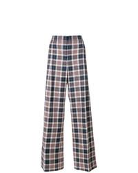 Pantalones anchos de tartán en multicolor de Tory Burch