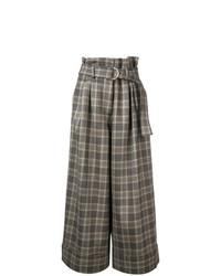 Pantalones anchos de tartán marrónes de Adam Lippes