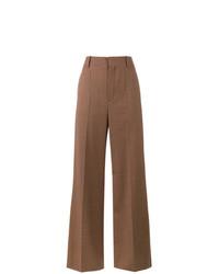 Pantalones anchos de tartán marrónes de Chloé