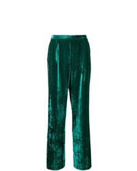 Pantalones anchos de terciopelo verde oscuro de Erika Cavallini