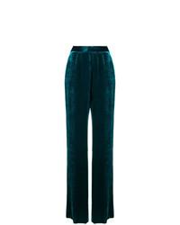 Pantalones anchos de terciopelo verde oscuro de Etro