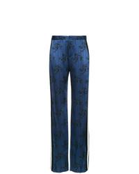 Pantalones anchos estampados azul marino de Lanvin