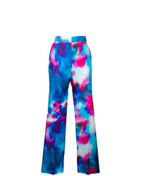 Pantalones anchos estampados azules de MSGM
