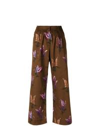 Pantalones anchos estampados marrónes de Andrea Marques