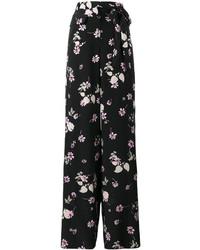 Pantalones anchos estampados negros de Valentino