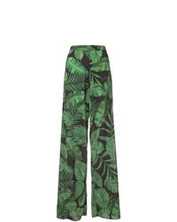 Pantalones anchos estampados verdes de Alice + Olivia