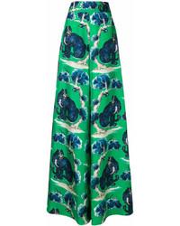 Pantalones anchos estampados verdes de Gucci