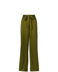 Pantalones anchos verde oliva de Josie Natori