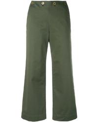 Pantalones anchos verde oliva de Theory