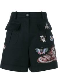 Pantalones cortos bordados negros de Valentino