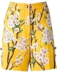 Pantalones cortos con print de flores amarillos de Dolce & Gabbana