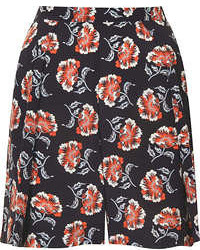 Pantalones cortos con print de flores azul marino