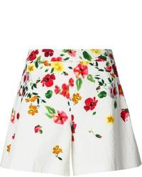 Pantalones cortos con print de flores blancos