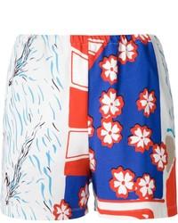 Pantalones cortos con print de flores blancos de Carven