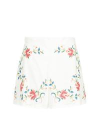 Pantalones cortos con print de flores blancos de Zimmermann
