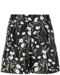 Pantalones cortos con print de flores negros de Giambattista Valli