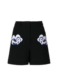 Pantalones cortos con print de flores negros de Markus Lupfer
