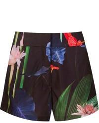 Pantalones cortos con print de flores negros