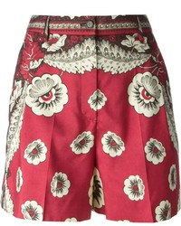 Pantalones cortos con print de flores rojos de Valentino