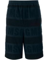 Pantalones cortos de algodón azul marino de MSGM