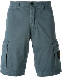 Pantalones cortos de algodón azules de Stone Island